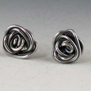tiny rose earring studs