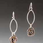 copper rose petal earrings 1