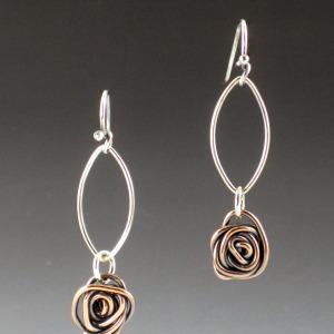copper rose petal earrings 1
