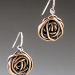 small copper rose earrings 1