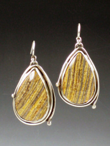 petrified wood earrings